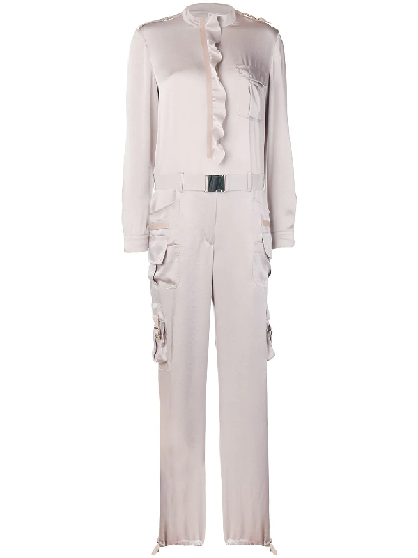 2098089370 Red Valentino Fluid Satin Cargo Style Jumpsuit With Ruffle In Neutrals
