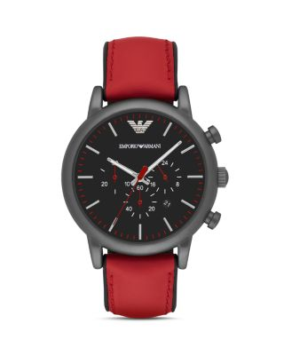 Emporio Armani Men's Chronograph Luigi Red Leather Strap Watch 46mm Ar1971 In Black