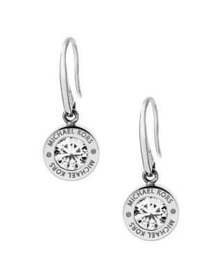 Michael Kors Logo Disc Drop Earrings In Silver