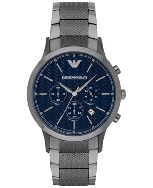 Emporio Armani Men's Chronograph Renato Gunmetal Stainless Steel Bracelet Watch 43mm Ar2505 In Blue