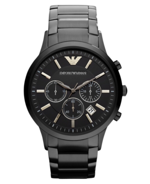 Emporio Armani Watch, Chronograph Black Ion Plated Stainless Steel Bracelet 43mm Ar2453