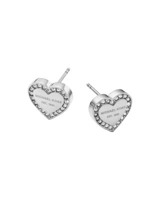 Michael Kors Heritage Stainless Heart Earrings W/crystals In Silver