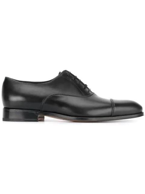 Salvatore Ferragamo Men's Calfskin Cap-Toe Oxford, Black