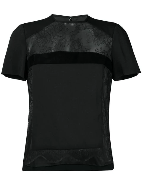Dsquared2 Lace Panel Tee In Black
