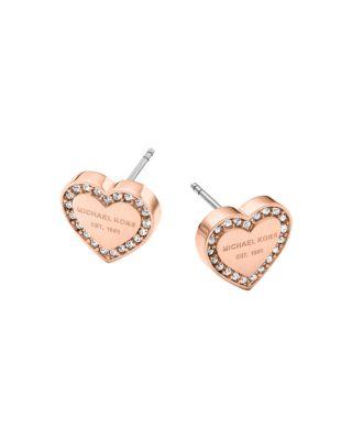 Michael Kors Heart Stud Earrings In Rose Gold