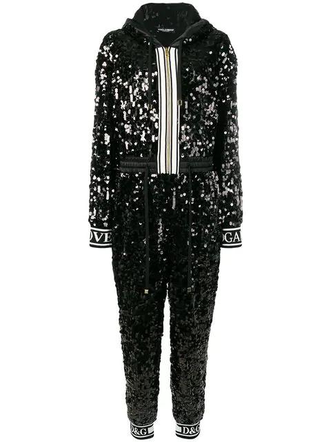 Dolce & Gabbana Sequin Jumpsuit In Black