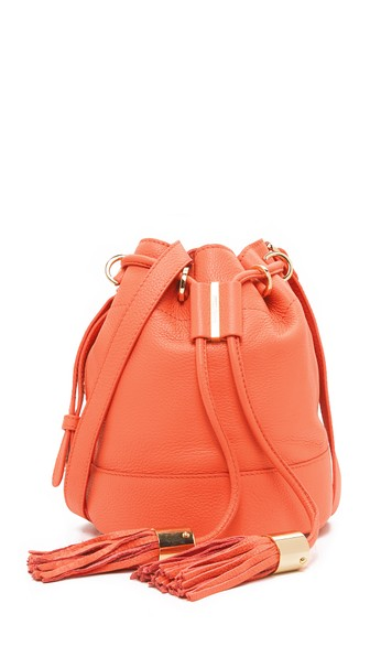 See By ChloÉ Vicki Small Leather Bucket Bag In Orange Paradise