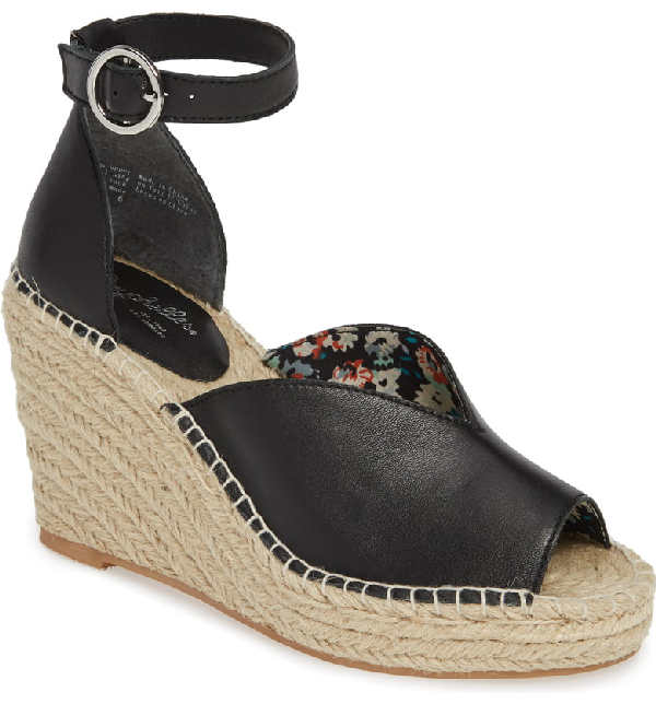 73904fcbb05 Collectibles Espadrille Wedge Sandal in Black Leather