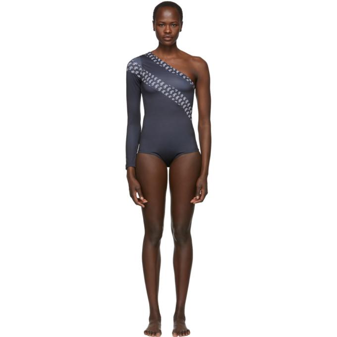 6d4ce2e2f173f Saks Potts Black Single-Sleeve One-Piece Swimsuit | ModeSens