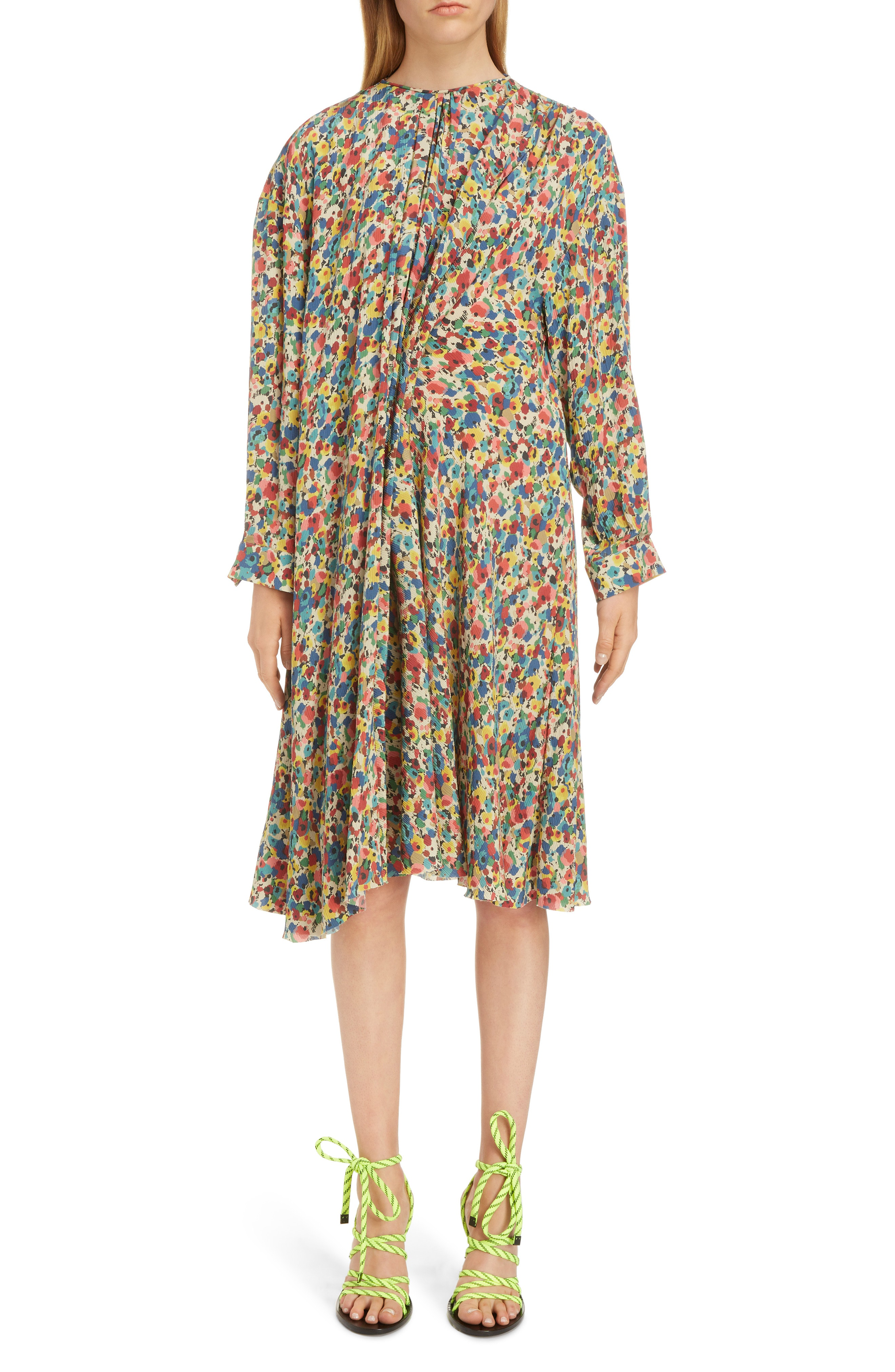 5ba741f5ac02 Balenciaga Floral Print Silk Dress In Multicolor