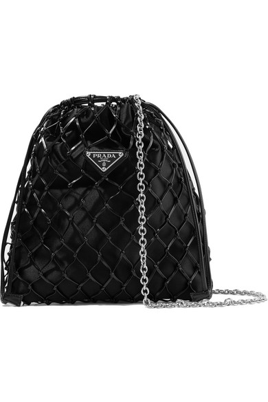 0be7da7a267da4 Prada MacramÉ Leather And Satin Bucket Bag In Black | ModeSens