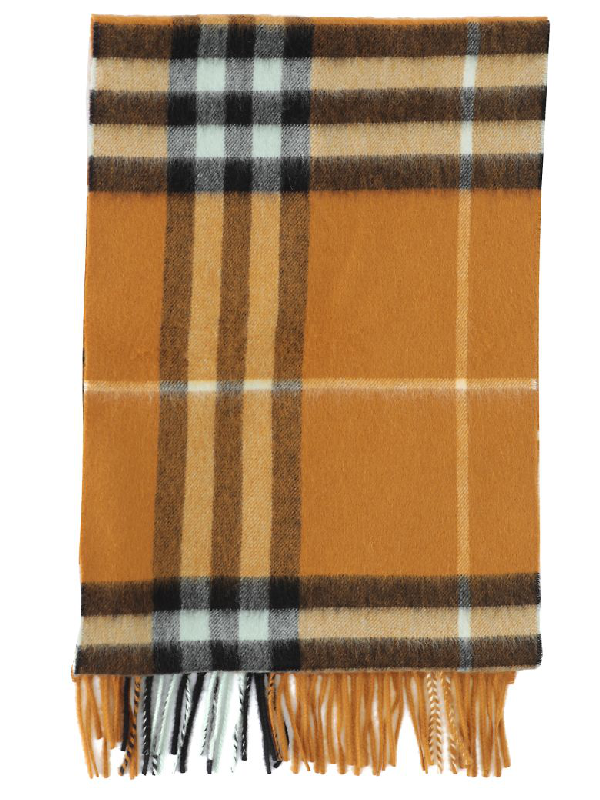 Burberry Mu Giant Check Scarf In Umber Yellow