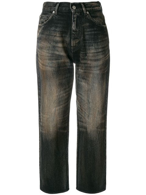 Golden Goose Komo Cropped High Waist Jeans In Black