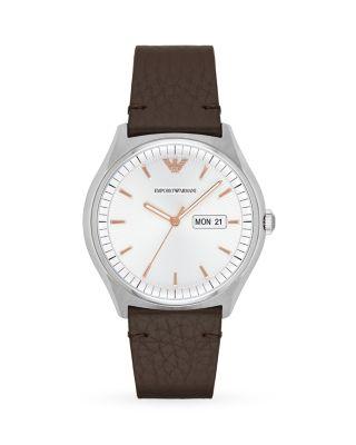Emporio Armani Men's Dark Brown Leather Strap Watch 43mm Ar1999 In White