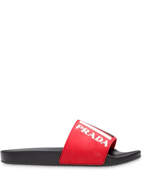 Prada Textured Logo Colourblock Pool Slides In Red