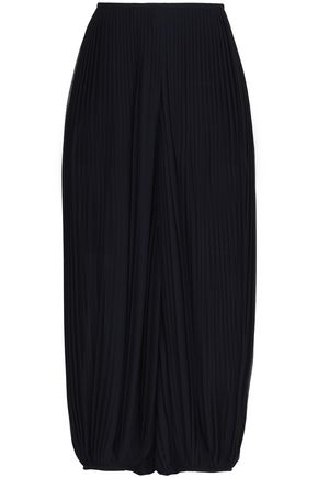 ChloÉ Woman Cropped Pleated Georgette Wide-Leg Pants Midnight Blue