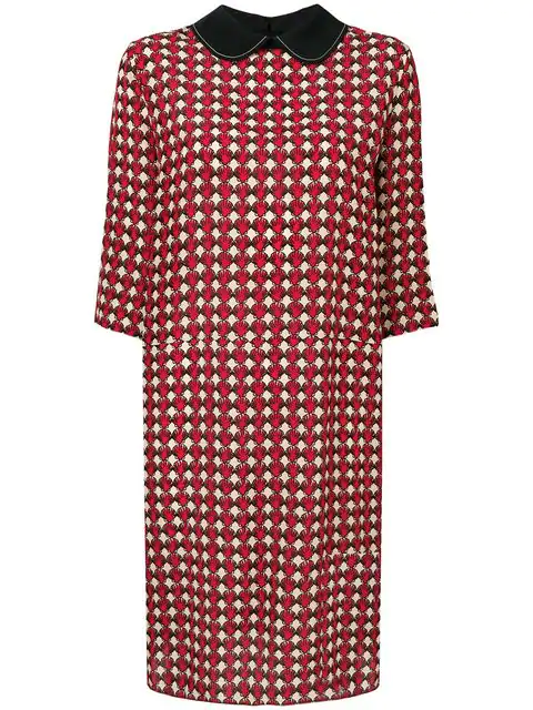 Marni Micro-Pattern Dress In Y5382 Red Multicolor