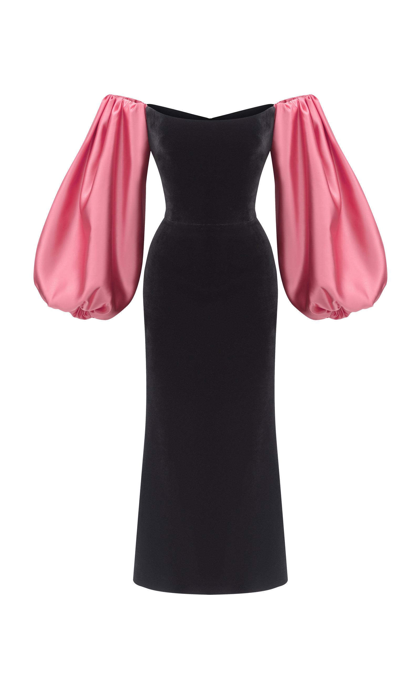 0c22d8d2f5b2 Rasario Puffed Sleeve Satin And Silk-Blend Velvet Midi Dress In Multi