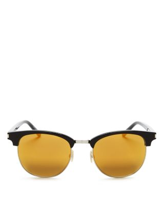 Saint Laurent Classic Sl 108 Sunglasses In Shiny Black Acetate With Gold Mirrored Lenses In Black/yellow