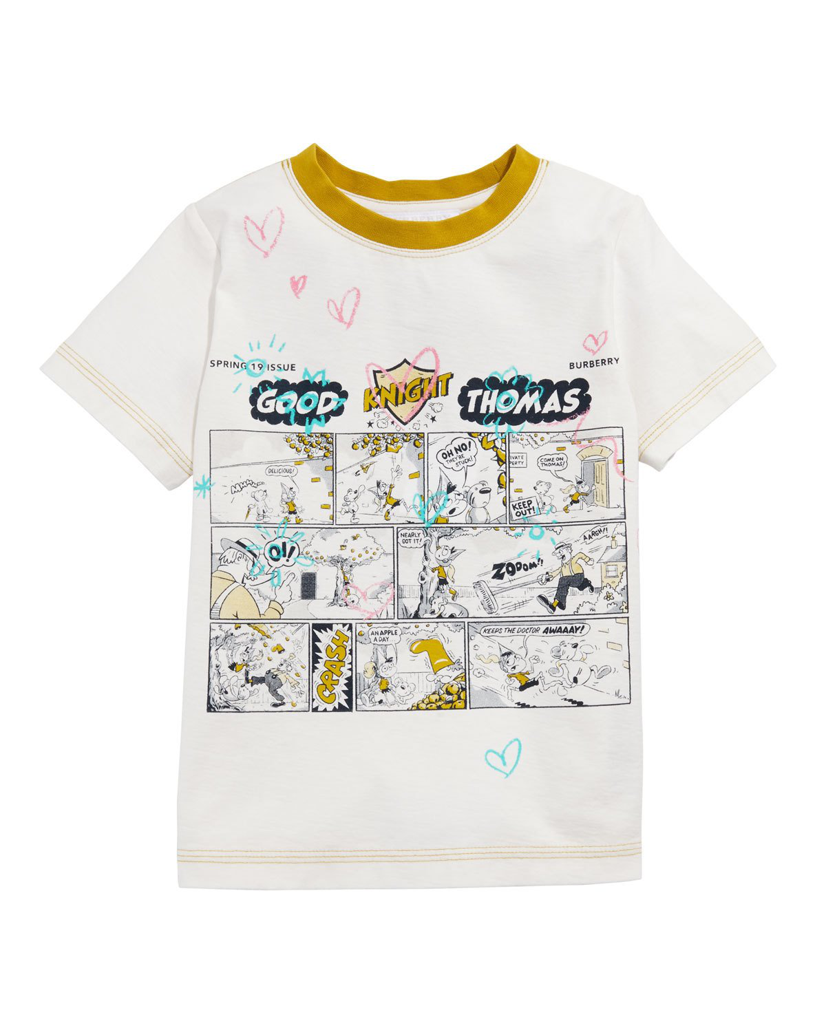 Free Comic Book Day Romania: Burberry Comic Doodle Graphic Tee In White