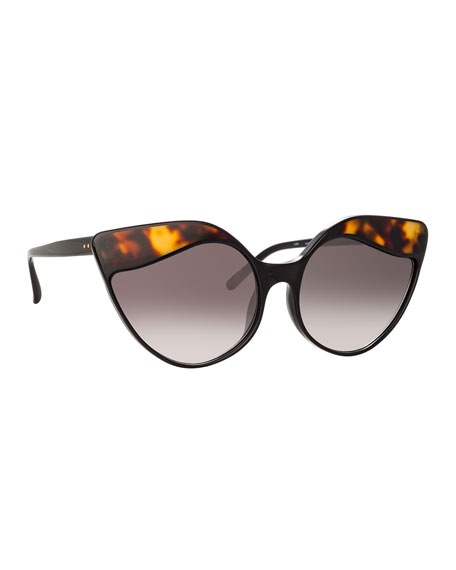 Linda Farrow Gradient Cat-Eye Sunglasses In Black/Tortoise