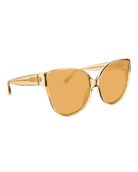 Linda Farrow Semitransparent Acetate Mirrored Cat-Eye Sunglasses In Gold
