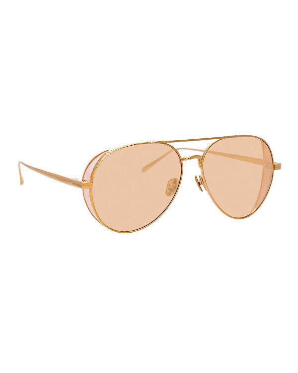 Linda Farrow Titanium Aviator Sunglasses In Rose Gold/Peach
