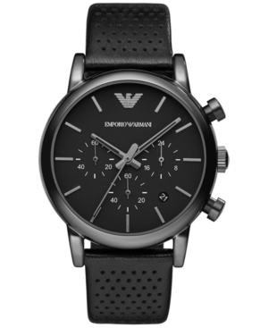 Emporio Armani Men's Chronograph Perforated Black Leather Strap Watch 41mm Ar1737
