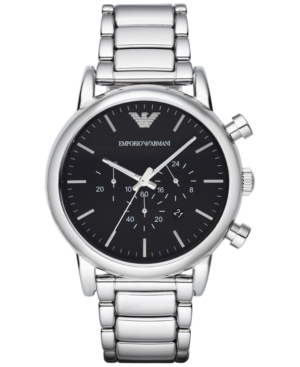 Emporio Armani Men's Chronograph Stainless Steel Bracelet Watch 46mm Ar1894 In Silver