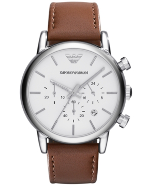 Emporio Armani Men's Chronograph Brown Leather Strap Watch 41mm Ar1846 In Brown/ Silver