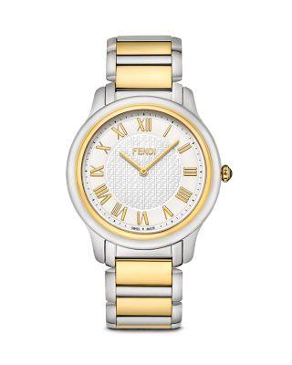 Fendi 40mm Men's Classico Bracelet Watch, Two-tone In Silver/gold
