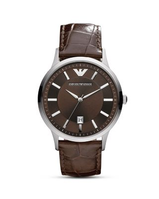 Emporio Armani Round Silver & Brown Watch With Crocodile Embossed Strap, 43mm In Silver/brown