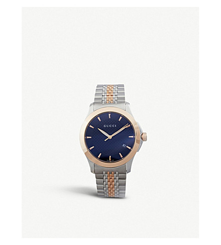 Gucci Ya126410 G-timeless Collection Stainless Steel And Pink-gold Pvd Watch In Black