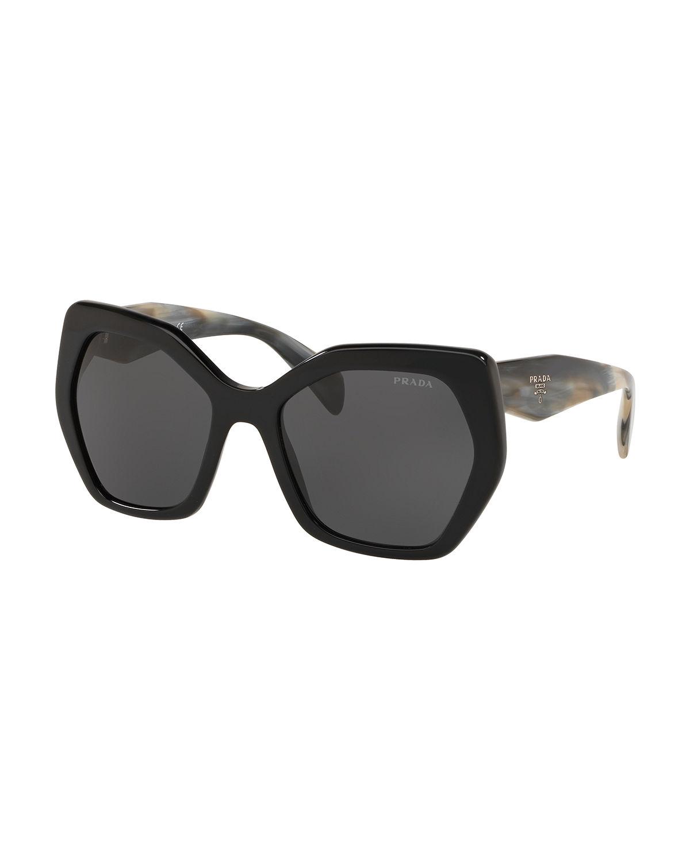 Prada Heritage Angled Butterfly Sunglasses In Black Tort