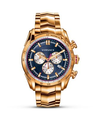 Versace Italian-style Swiss Made Watch, 44mm In Navy/gold