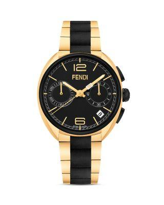Fendi Momento  Black & Goldtone Stainless Steel Chronograph Bracelet Watch In Black/gold