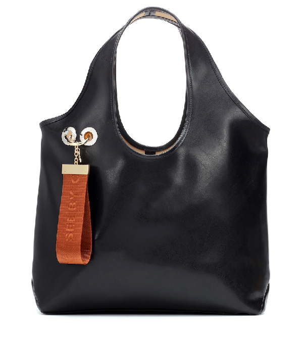 e205031cf52 See By ChloÉ See By Chloe Jay Large Logo Tag Leather Tote In Black ...