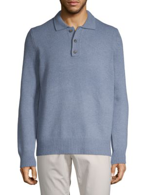 Vince Textured Wool & Cashmere Polo In Jeans