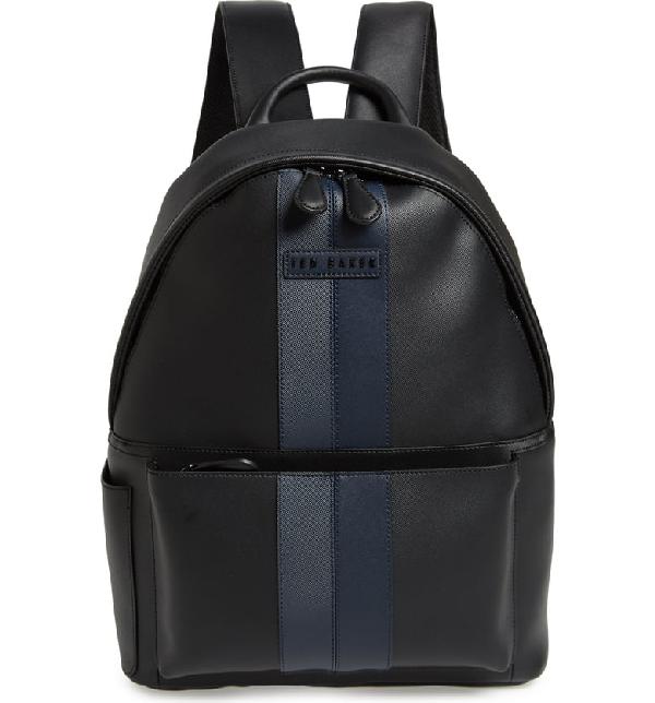 Ted Baker Stripe Faux Leather Backpack - Black