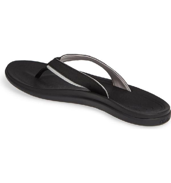 Olukai Punua Flip Flop In Black/ Black Fabric