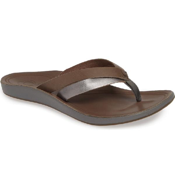 Olukai Kaekae Flip Flop In Charcoal/ Pewter Leather
