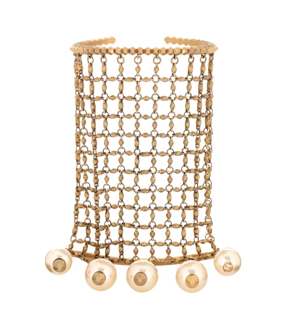 Gucci Gold-tone Embellished Bracelet And Rings In Multi, Gold