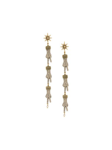 Gucci Crystal-embellished Hand Drop Earrings In Metallic