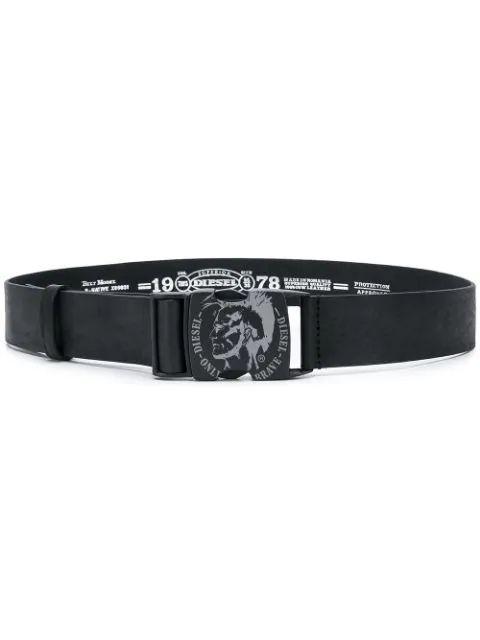 Diesel Mohawk Logo Belt In Black