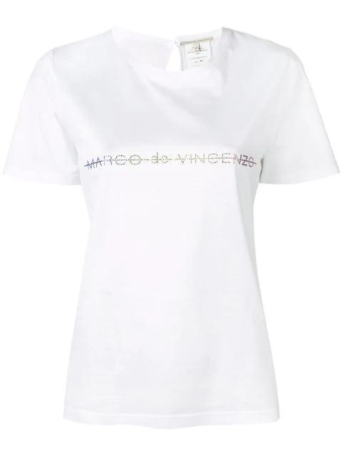 Marco De Vincenzo Embellished Logo T-shirt In White