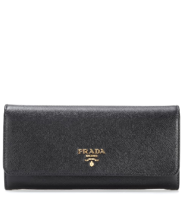 d1e2be717c2b Prada Saffiano Leather Continental Wallet With Removable Id Holder, Black  (Nero)