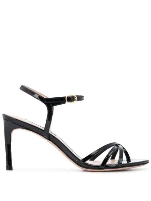 Stuart Weitzman Starla Patent Leather Sandals In Black