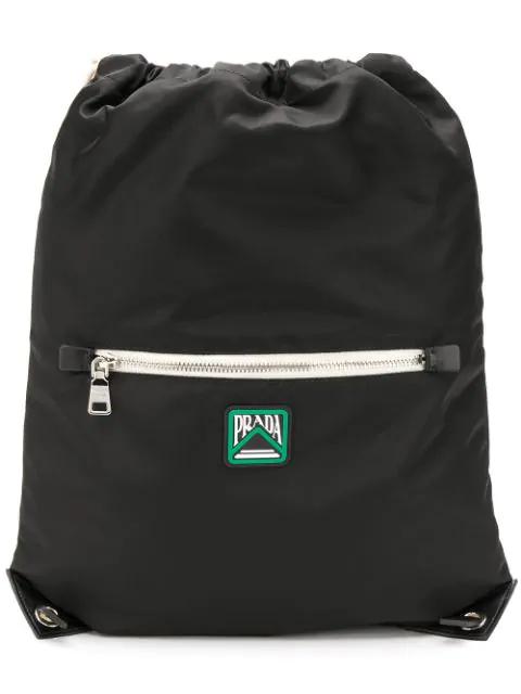Prada Drawstring Backpack In F0002 Nero