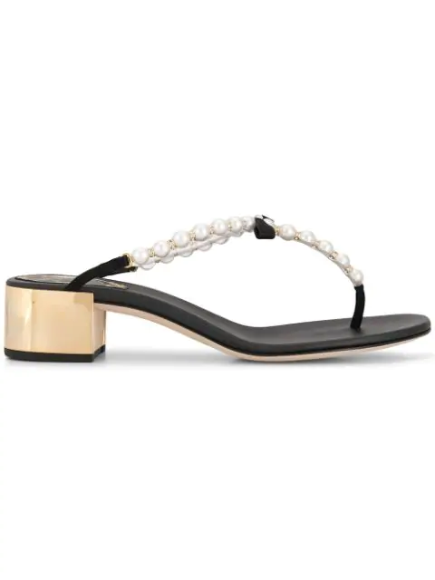 RenÉ Caovilla Thong Sandals In Black