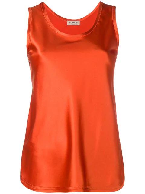 Blanca Satin Tank Top In Orange